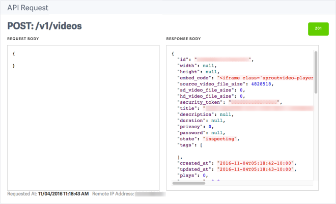API Notifications and History Log