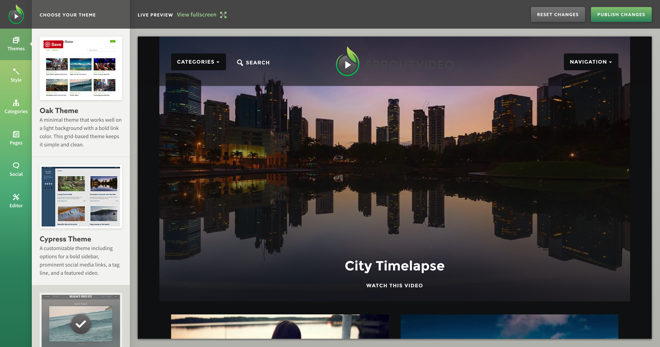 Example of a video website hosted by SproutVideo