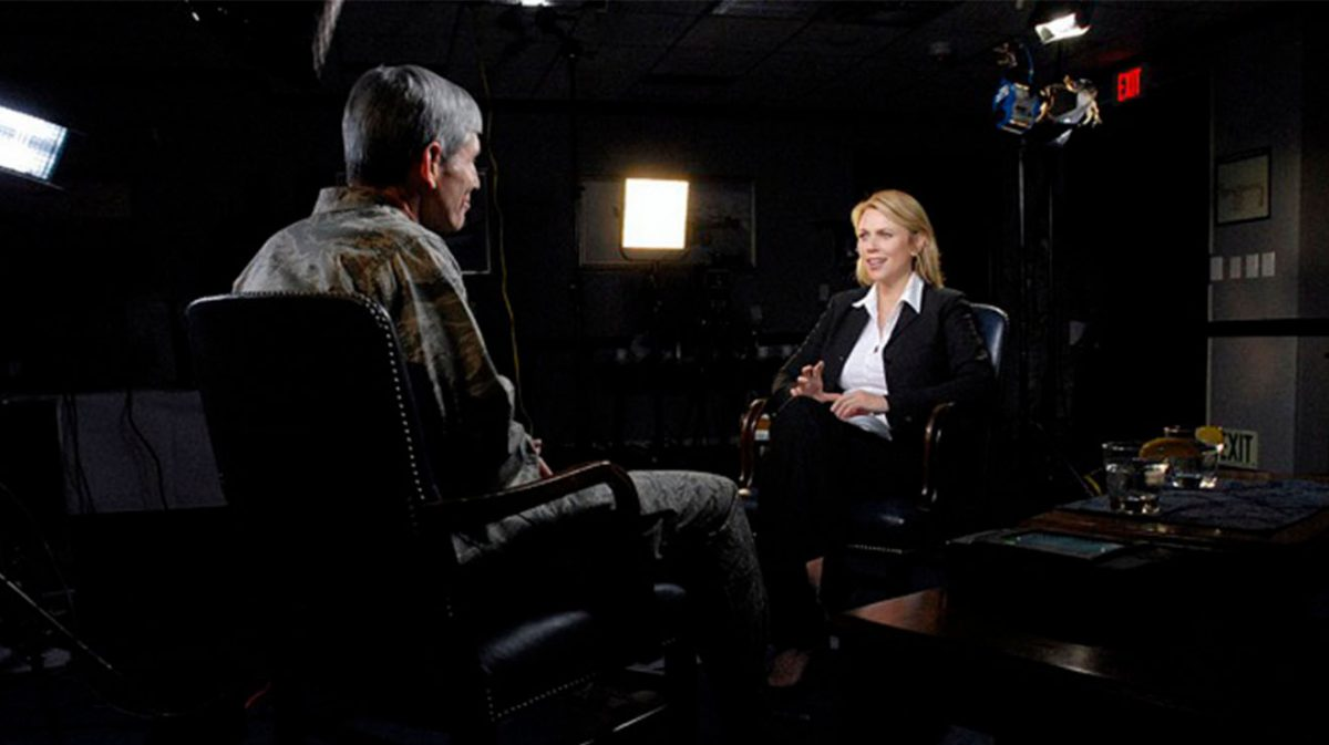 Two people in an interview