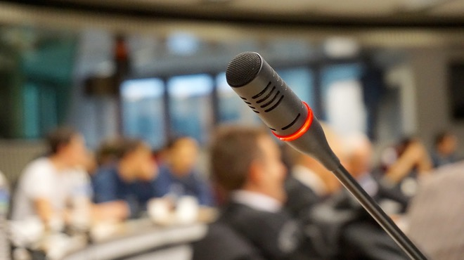 microphone at company event