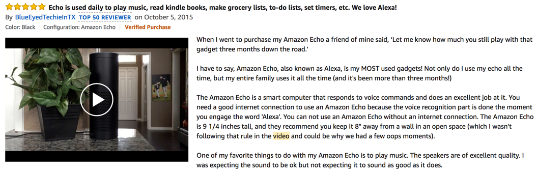 example of amazon video review