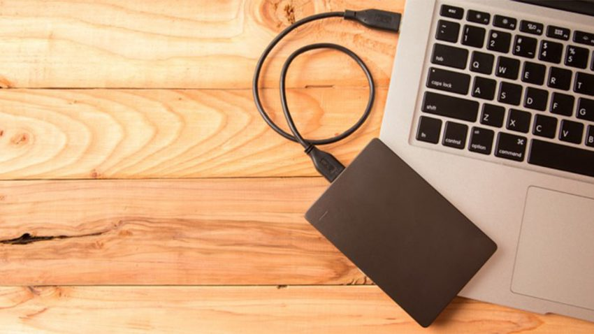 Hard drive on desk
