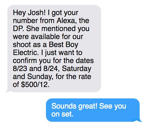 text exchange hiring a freelancer