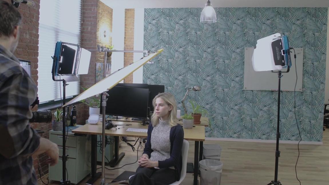 backlight in a office video lighting setup