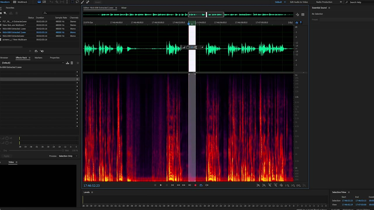 Noise Print for Background Noise Reduction Adobe Audition