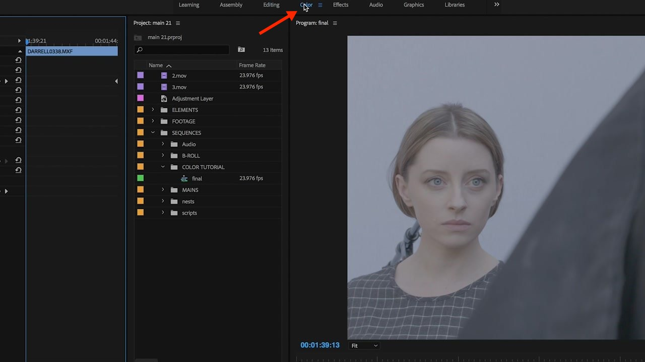 Accessing the Color Workspace in Adobe Premiere