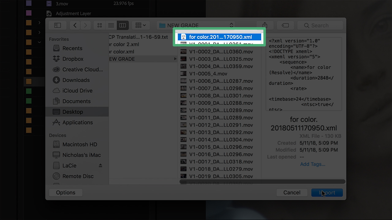 Select the XML file for import to Adobe