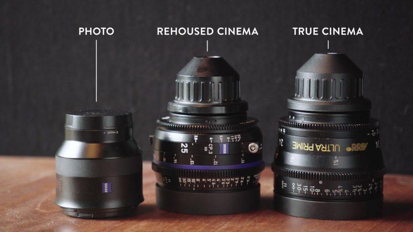 Photo, rehoused cinema, and true cinema lenses