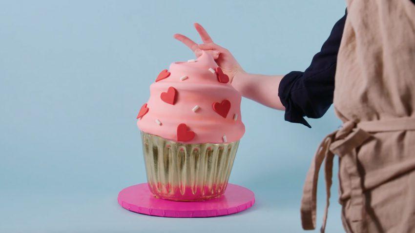 Giant Valentine's Day Cupcake