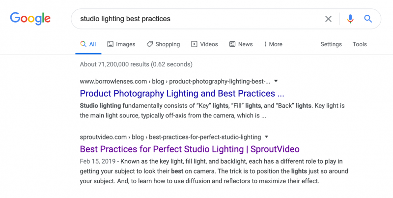 Search results example for how to video content